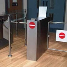 Half Height barrier rail turnstile systems ITAB Console Installtion