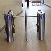 Half Height barrier rail turnstile systems ITAB Triflo Premier installation barrier rail turnstile systems